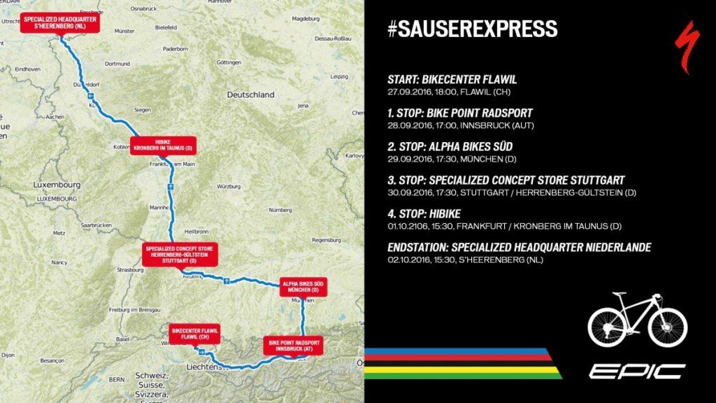Specialized Sauser Express - die Stationen